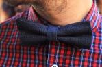 Corbata de moño y cuadros